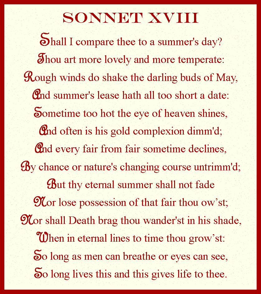 William Shakespeare Sonnet 18