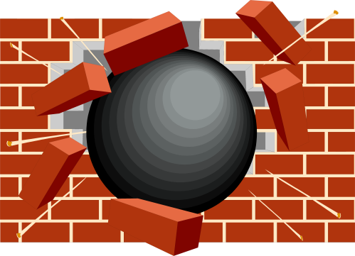 Ball crashing through brick wall