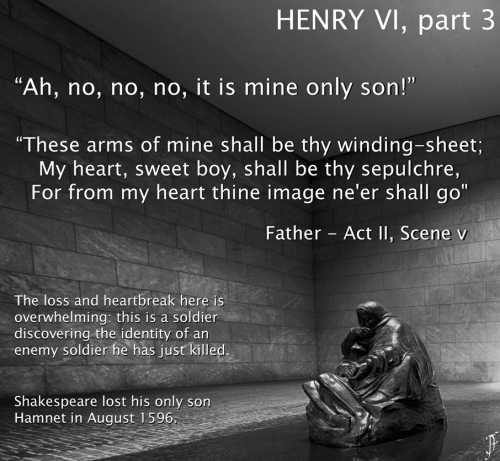 """Ah, no, no, no, it is mine only son! ... These arms of mine shall be thy winding-sheet; My heart, sweet boy, shall be thy sepulchre, For from my heart thine image ne'er shall go"" Father who has killed an unknown foe in battle, only to find the corpse is his own son Henry VI, pt. 3 - II.v"